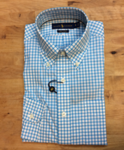 $145 Polo Ralph Lauren Men's LS Checked Shirt, Turquoise, S - $59.39
