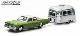 Greenlight 1974 Dodge Monaco Green & Airstream Trailer Bambi 16' Hitch & Tow Ser