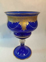 Vintage Murano Handmade Tall Bowl on Pedestal Cobalt Gold Gilt Woman's Face - $593.99