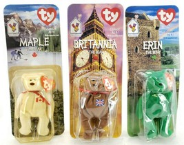 1997 TY Maple and Britannia the bear with 1998 Erin the Bear - $35.02