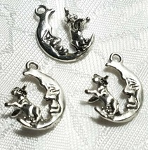 COW JUMPED OVER THE MOON FINE PEWTER PENDANT CHARM - 6x19x15mm image 1