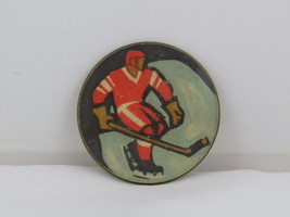 Vintage Soviet Hockey Pin - CSKA Moscow Player on Rink - Round Pin - $34.00