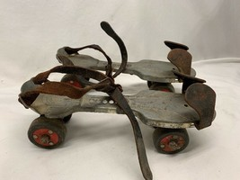 Vintage Ted Williams Sears Metal Skates Adjustable Red Wheels With Straps - $49.49