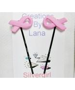 Set of 2 bobby pins pink ribbon thumbtall
