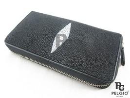 PELGIO Real Genuine Stingray Skin Leather Zip Around Clutch Wallet Purse... - $78.70