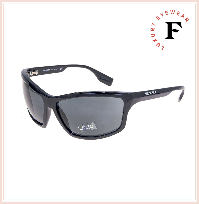 BURBERRY 4297 Wrap Mask Shiny Black Sunglasses BE4297S Unisex Runway Authentic
