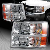 For 2007-2013 Chevy Silverado 2in1 Chrome Housing W/Amber Reflector Headlights - $138.37