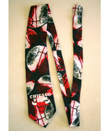 VTG CHICAGO BULLS Silk Novelty Neck Tie Necktie Black White Red EUC Made... - $36.62