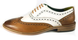 Men's Brown and White Leather Wing Tip Brogues Style Dress/Formal Oxford shoes image 3
