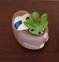 """Sloth Animal Planter with Faux Succulent, Cement Pot and Artificial Plant, 4"""" image 2"""