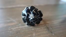 Adjustable Black Enamel Rhinestone Flower Ring - $8.90