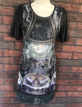 Italian Art Museum Stretch Dress Large Faux Leather Short Sleeves Scoop Neck - $24.75
