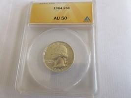 1964 , Washington Quarter , ANACS , AU 50 - $15.00