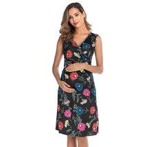 Maternity's Dress V Neck Floral Print Sleeveless Fashion Dress image 3