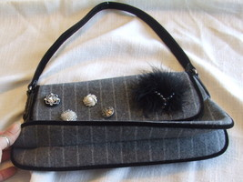 Small Gray Wool Blend Purse with Button, bead and Feather Embellishments image 12