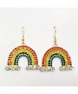E0408 Gold Tone Based Multi Rhinestones Rainbow Design Dangle Hook Earrings - $9.99