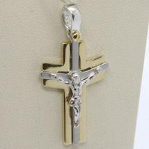 Pendentif Croix or Jaune Blanc 750 18K, avec Christ, Brillante et Satin image 3