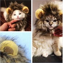 Funny Cute Pet Costume Cosplay Lion Mane Wig Cap Hat For Cat Halloween C... - $5.83