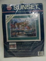1994 Sunset No Count Cross Stitch Kit Twilight at Woodgreen Pond 13926 Valente - $19.79