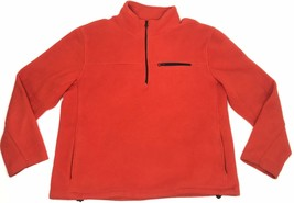 Vintage J Crew Fleece Pullover Men Large Orange Half Zip Jacket USA MADE - $45.00