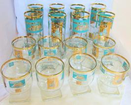 16 Pc Vintage Libbey 6oz Rocks 12oz Highball Glasses Riverboat Teal Gold... - $81.00