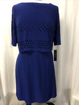Tahari Women's Dress Victor-B Cobalt Blue Lined Stretch Size 14 NWT $128 - $68.31