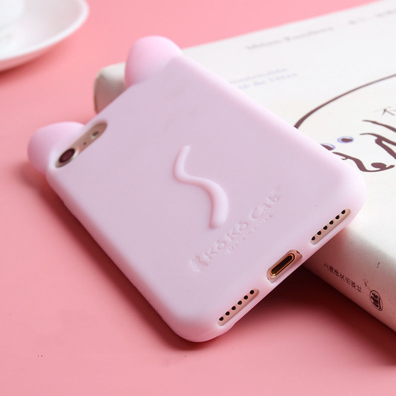3D Cat Ear Shape Cartoon Soft Silicone Case For iPhone 6 6s X 7 8Plus 4 4s 5 5s