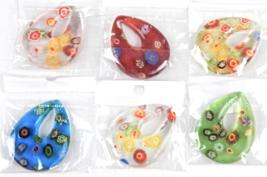 Murano Style Millefiore Design Art Glass Tear Drop Pendant For Necklace ... - $1.00