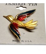 Vintage Gold Tone Bird with Red Purple Turquoise Enamel Wings Pin - $10.49