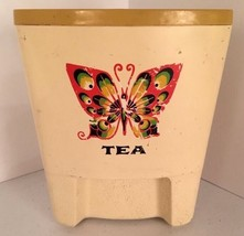 Vintage Funky Plastic Tea Container Canister Butterfly Retro Mod Sterilite - $8.37
