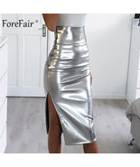 Forefair Side Split Faux Leather Pencil Skirt Women Autumn Bright Silver... - $36.78