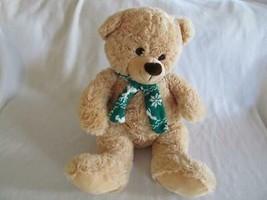 Hug & Luv Tan Plush Bear with Green Christmas Scarf 16 in Big Soft and C... - $12.00