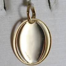 18K YELLOW GOLD PENDANT OVAL MEDAL VIRGIN MARY & JESUS ENGRAVABLE MADE IN ITALY image 2