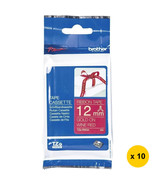 Brother 12mm Ribbon Tape Cassettes (Pack of 10), Gold on Wine Red, TZe-RW34 - $115.99