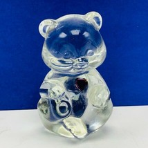 Fenton glass teddy bear figurine birthday stone purple heart amethyst Fe... - $28.89