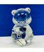 Fenton glass teddy bear figurine birthday stone purple heart amethyst Fe... - $28.89