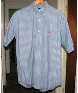 Grey & White Stripe Dress SHIRT Sz M Ralph Lauren - $19.99