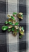 Large Antique Green Iridescent Brooch And Earring Set By Beau Jewels - $62.37