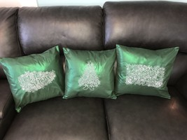 Green and White Christmas Embroidered 3 Pillow Set - $55.00