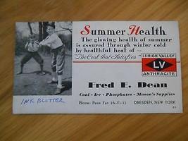 Old Vintage Ink Blotter Lehigh Valley Anthracite Fred E. Dean Dresden Ne... - $9.99