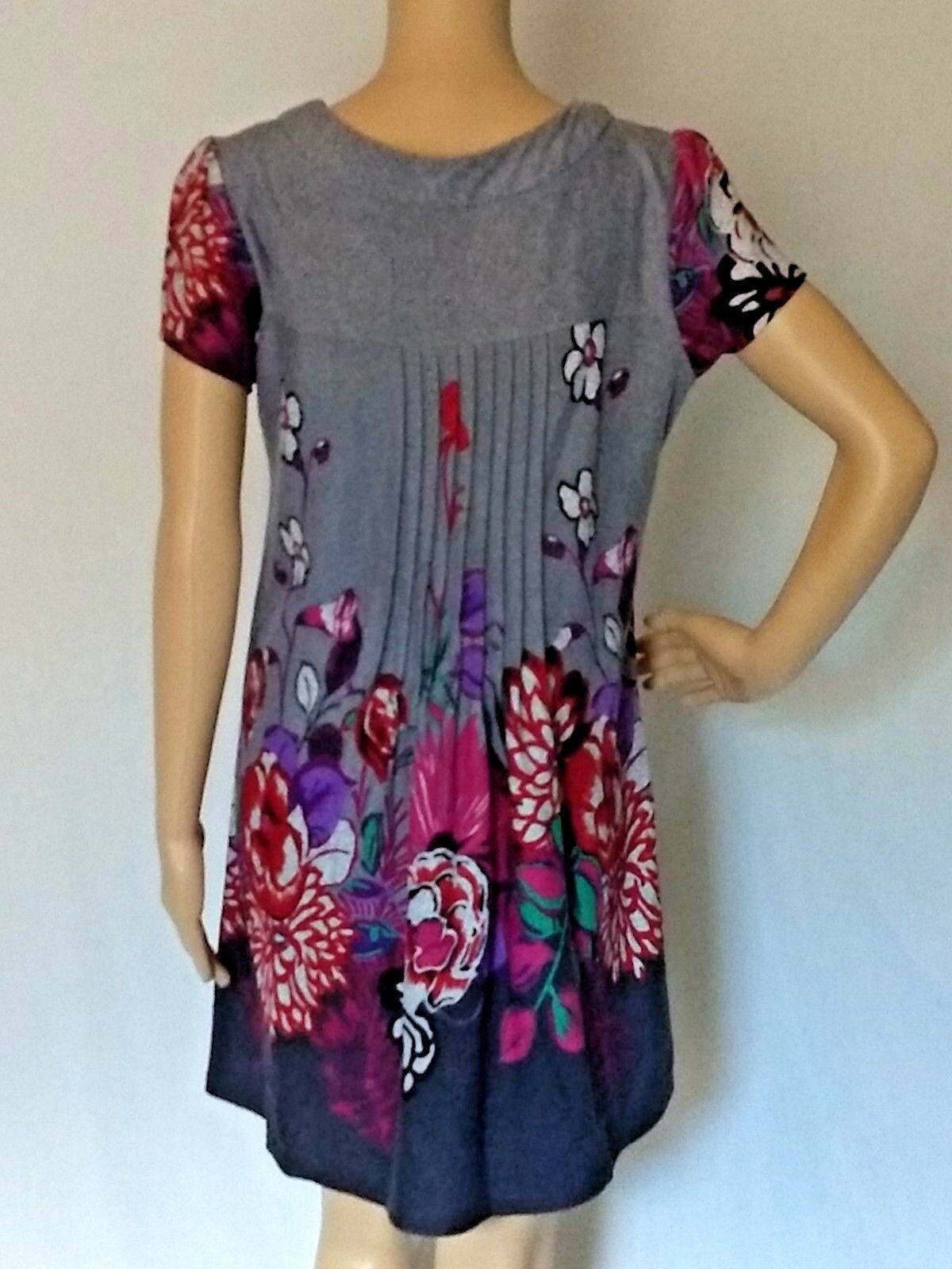 Funky People Sweater Dress Boho Chic Size Medium Gray Floral Womens