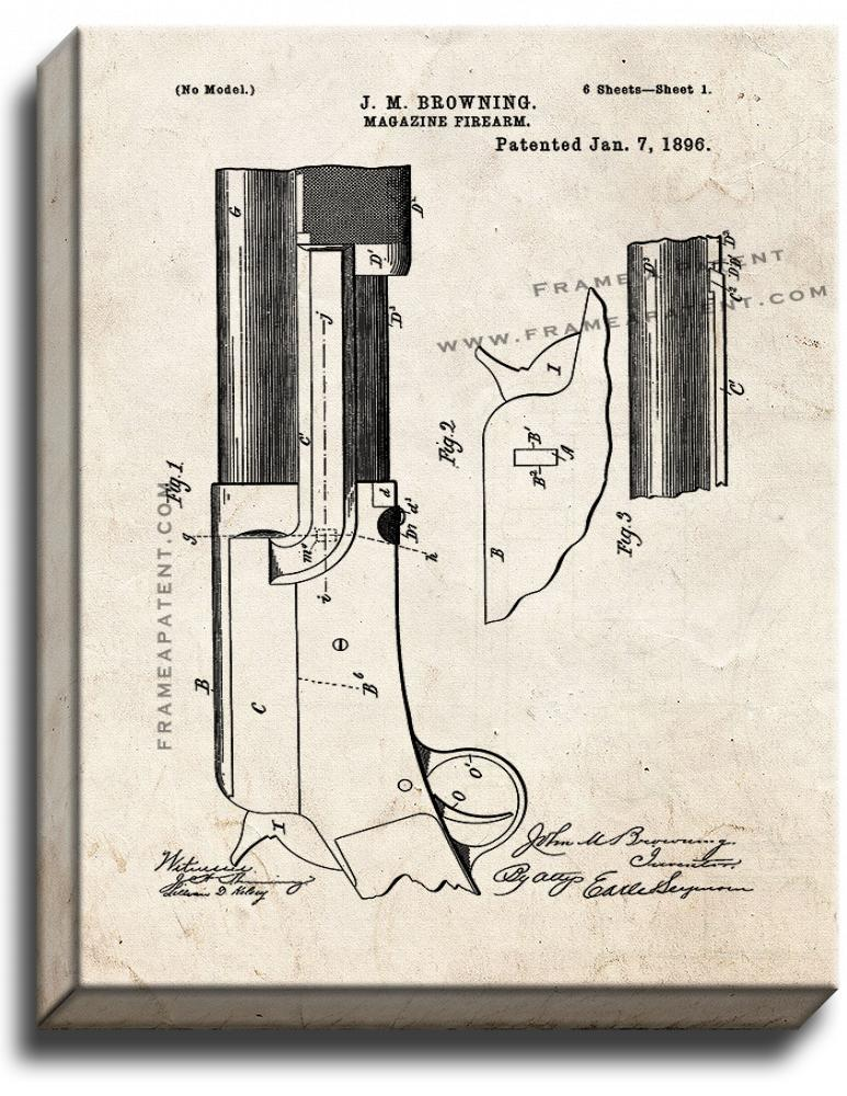 Primary image for Magazine-firearm Patent Print Old Look on Canvas