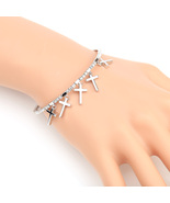 UE- Designer Silver Tone Bangle Bracelet With Swarovski Style Crystals &... - $19.99