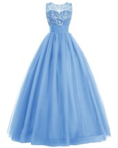 Long Tulle Prom Dress Beaded Evening Dress Fluffy Formal Dress Blue for ... - $135.00