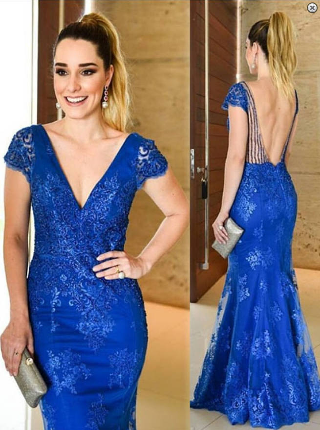 royal blue prom dress,long prom dress,lace prom dress,cap sleeves prom dresses
