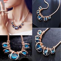 Fashion Blue Bib Necklace Choker Chain Statement Crystal Pendant  - $15.83