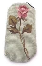 Finished Handmade Needlepoint Eyeglass Case Green Pink Rose Stem Flower ... - $20.70