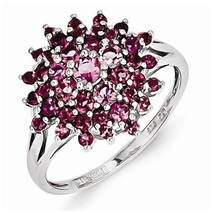 STERLING SILVER 0.9 CT PINK TOURMALINE FLOWER DESIGN CLUSTER RING - SIZE 8 - £106.74 GBP