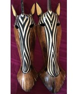 HAND CARVED WOOD pair of AFRICAN ZEBRA MASKS - $46.40