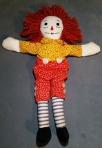 """Vintage Handmade Raggedy Andy Ann Doll Yellow Red Flower Print Great 16"""" - $14.50"""